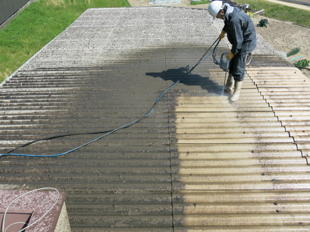 施工事例:スレート洗浄