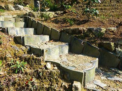 おちゃむの『よろこびの庭』-土止め階段アップ