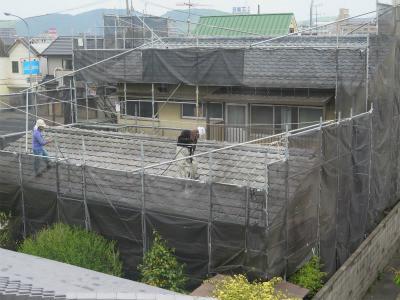 岡山市中区浜 セメント瓦シリコン塗装